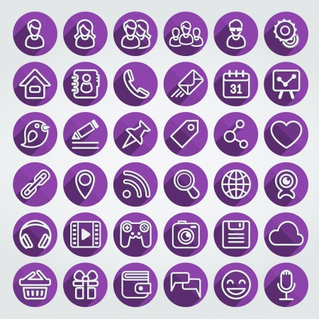 Set of 36 purple round web icons of social networking and multimedia in the long shadows flat outline style
