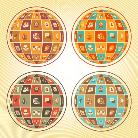 Concept of social networking in the form of sphere with flat web icons in four retro color combinations Vector