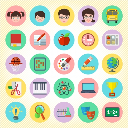 Set of 25 flat round school icons Vector