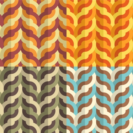 Seamless  flat geometric weaving pattern in four retro color combinations Vector
