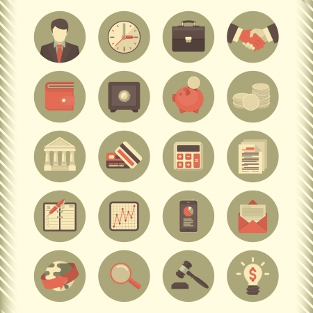 business briefcase: Set of 20 modern flat stylized icons suitable for financial and business themes