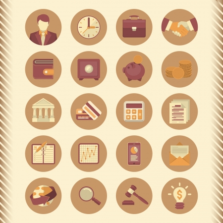 Set of 20 modern flat stylized icons suitable for financial and business themes  Vector