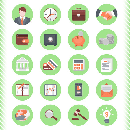 Set of 20 modern flat stylized icons suitable for financial and business themes