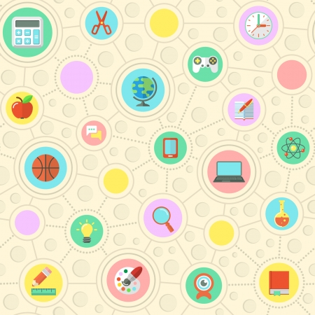 Seamless pattern of flat education symbols in circles Stock Vector - 22777804
