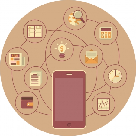Conceptual illustration of smartphone as portable business interaction devicein modern flat style  Illustration