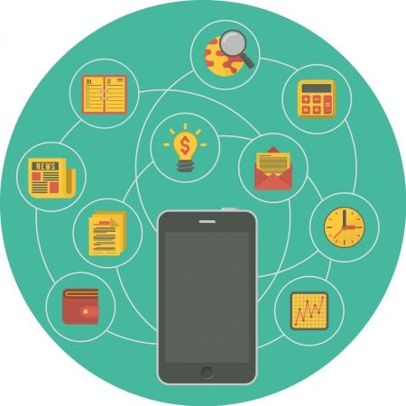 Illustration conceptuelle du smartphone en tant que dispositif d'interaction d'affaires portable dans un style moderne plat Vecteurs