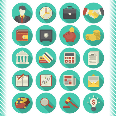 Set of 20 modern flat stylized icons suitable for financial and business themes  in modern flat style with long shadows