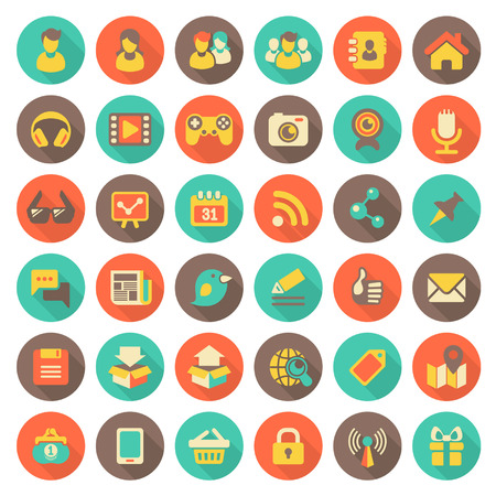 Set of 36 flat round web icons of social networking and multimedia in retro colors with long shadows Stock Vector - 22777908