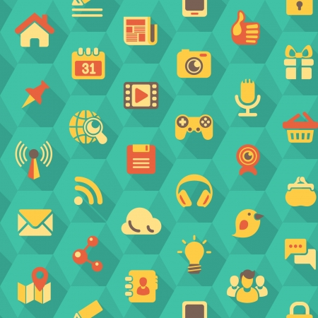 Seamless pattern of flat social networking icons in turquoise hexagons with long shadows Ilustração