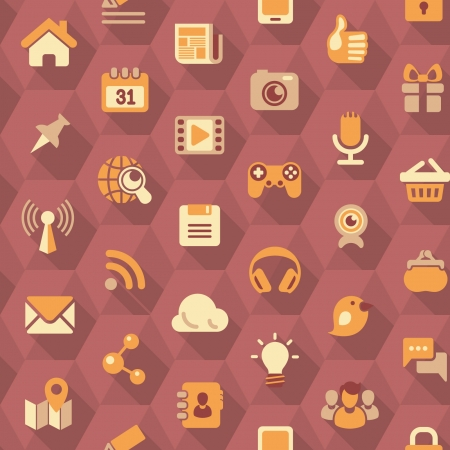 Seamless pattern of flat social networking icons in purple hexagons with long shadows Vector