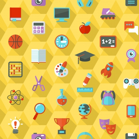 back icon: Seamless pattern of flat education and leisure symbols in hexagons with long shadows