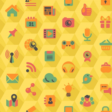 Seamless pattern of flat social networking icons in yellow hexagons with long shadows Vector