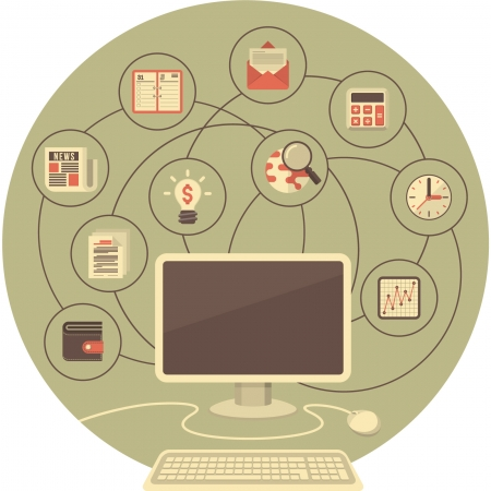 job functions: Conceptual illustration of computer with business and financial icons