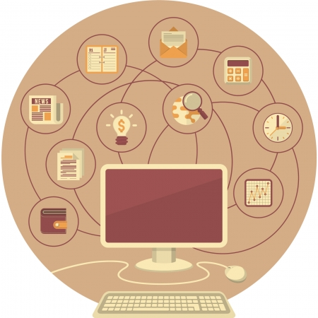 Conceptual illustration of computer with business and financial icons