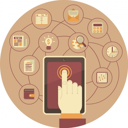 Ilustración conceptual de la tableta con las empresas y los iconos financieros Ilustración de vector