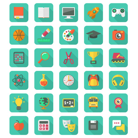 Set of 30 flat education and leisure icons with long shadows
