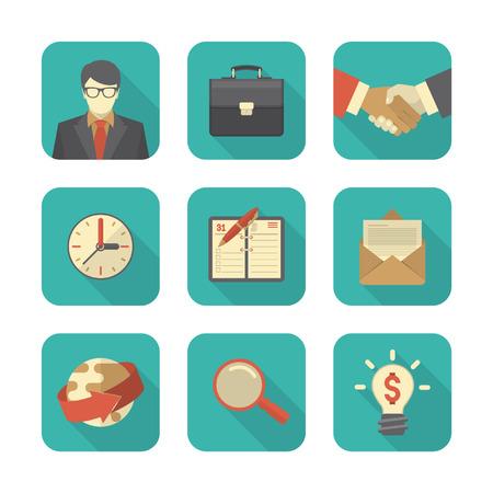 gestion documental: Conjunto de 9 iconos de negocios modernos planas estilizadas con largas sombras Vectores
