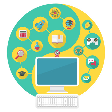 Conceptual illustration of a computer for education and spare time of the modern child Stock Vector - 23103554