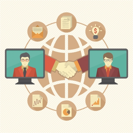 Conceptual illustration of business cooperation Illustration