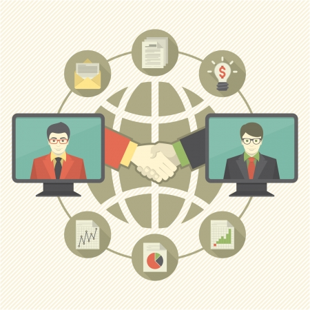 Conceptual illustration of business cooperation Vector