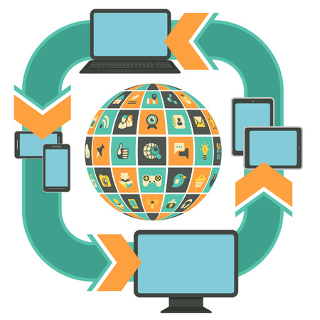 Vector template illustration of responsive web design on computer, laptop, tablet, smartphone with social networking icons in the form of sphere
