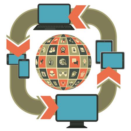 social networking: Vector modello illustrazione di web design reattivo sul computer, laptop, tablet, smartphone con le icone di social networking in forma di sfera