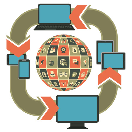 progressive: Vector template illustration of responsive web design on computer, laptop, tablet, smartphone with social networking icons in the form of sphere