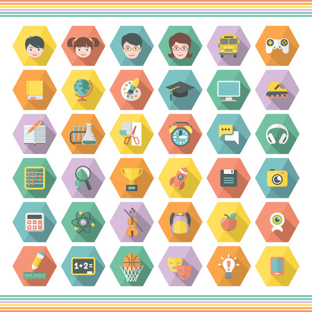 Set of 36 modern flat education and leisure symbols in multicolored hexagons with long shadows