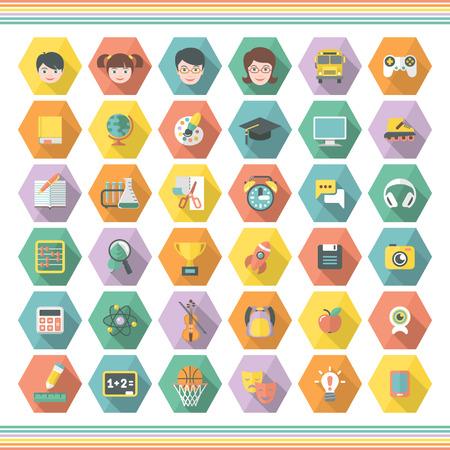 Conjunto de 36 símbolos de ocio educativo plana moderna y de hexágonos multicolores con las sombras largas Foto de archivo - 23301839