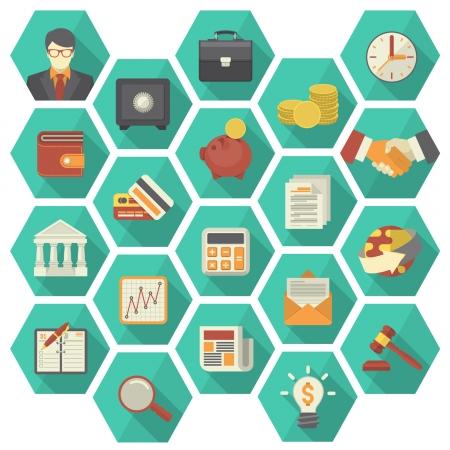 現代平らな様式化された六角形の 20 アイコンの金融とビジネスのテーマに適したセット