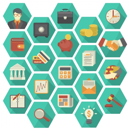 Set of 20 modern flat stylized hexagonal icons suitable for financial and business themes  Vector