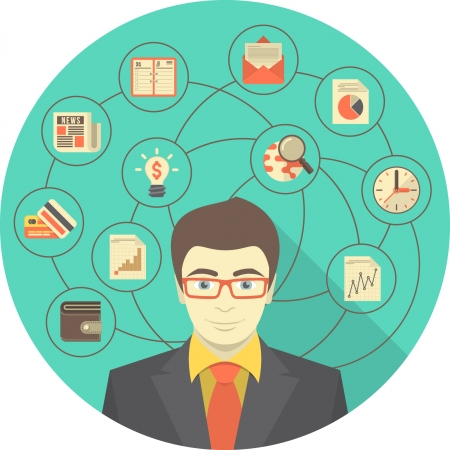 Conceptual illustration of modern young businessman with different icons of his activity