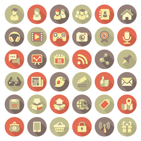 icons site search: Set of 36 flat round web icons of social networking and multimedia in retro colors with long shadows