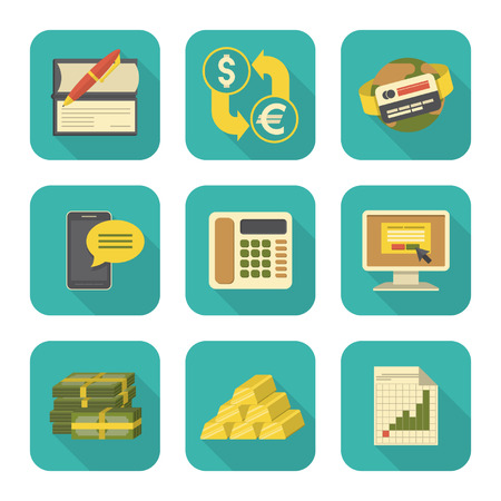 Set of modern flat stylized financial icons with long shadows