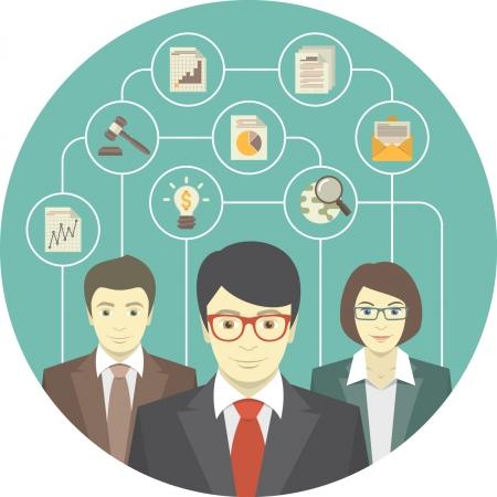 gestion empresarial: Ilustración conceptual del trabajo en equipo de los profesionales