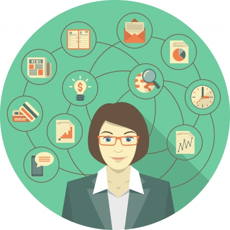 Conceptual illustration of modern young business woman with different icons of her activity