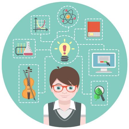 Prodigy: Koncepcyjne ilustracja chłopca geniusza i symbole różnych jego interesów