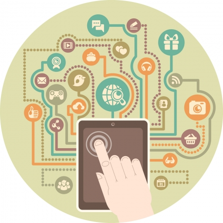 Conceptual illustration of modern communication in social media by a tablet  Illustration