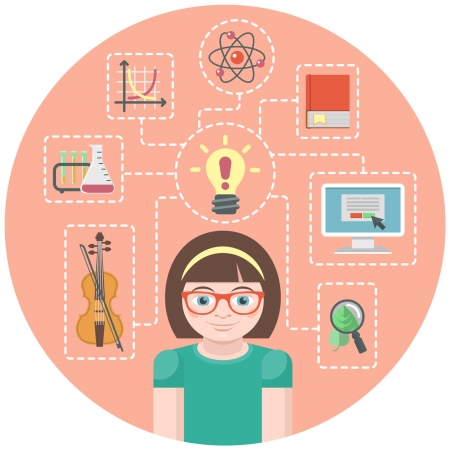 Conceptual illustration of a genius girl and symbols of her various interests