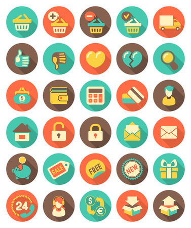 Set of modern flat round shopping icons with long shadows