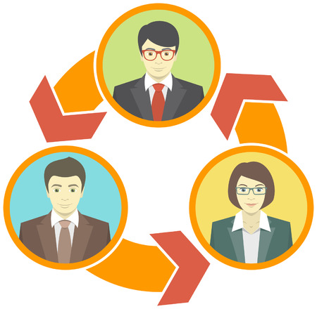 Conceptual illustration of the information exchange between business people Vector
