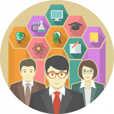 adult education: Conceptual illustration of a teaching team with education icons in hexagons
