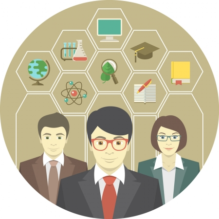 teaching adult: Conceptual illustration of a teaching team with education icons in hexagons