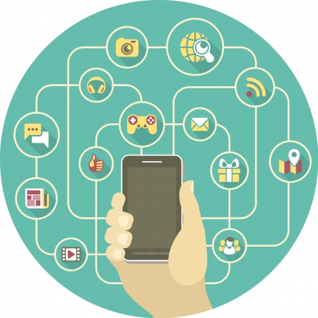 Conceptual illustration of the social interaction in the network using a smart phone Stock Vector - 24633582