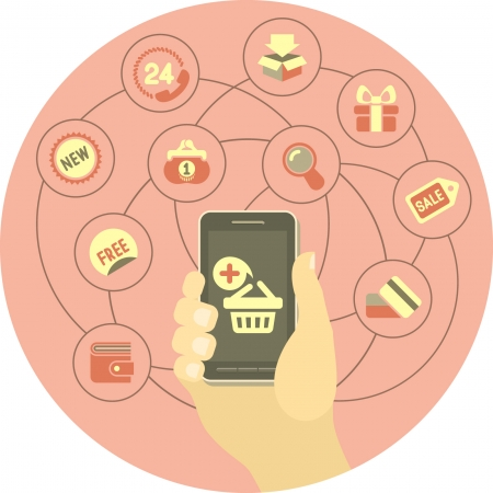 Conceptual illustration of Internet shopping using smart phone
