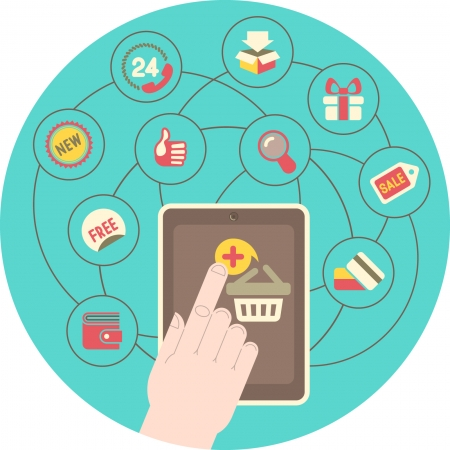 purchase icon: Conceptual illustration of shopping in Internet using tablet Illustration