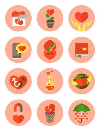Set of various flat round love symbols Vector