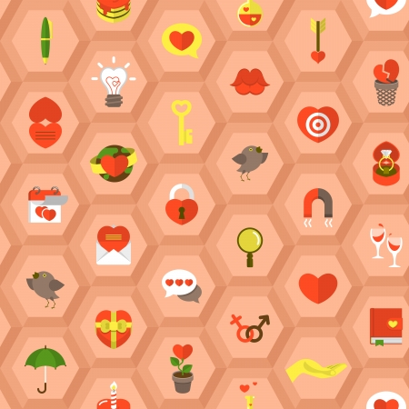 Seamless pattern with flat love symbols in hexagons  Vector