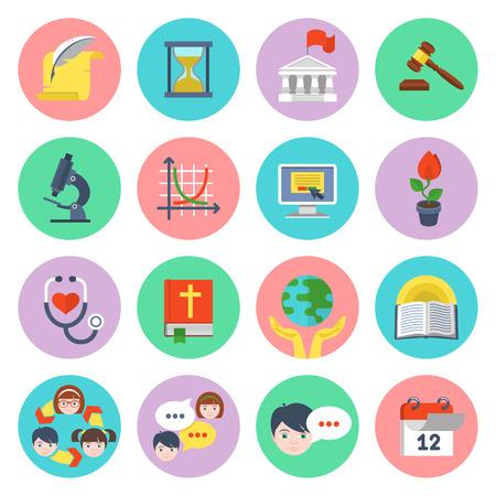 calendario escolar: Conjunto de iconos de educaci�n planas de diferentes temas y conceptos Vectores