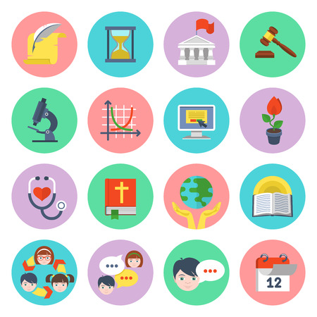 Set of flat educational icons of different subjects and concepts Illustration